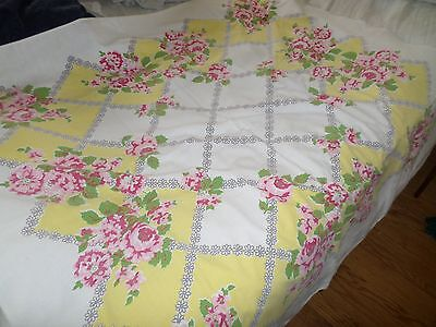 Vintage Yellow Tablecloth w/ PInk Cabbage Roses