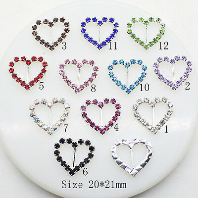 100pcs 20x21mm Heart Wedding Invitation Rhinestone Buckles DIY Decor Accessory