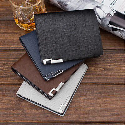 Bifold Wallet Mens PU Leather Credit ID Card Holder Slim Purse Black New Fashion