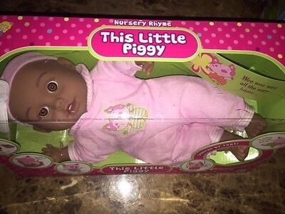 Baby Doll This Little Piggy Nursery Rhyme Says Little Piggie Toy Brown Skin NEW