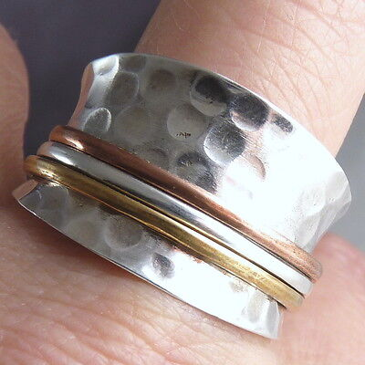 US 10 1/4 ~ 'WIDE 3-SPIN' Hammered SilverSari Spinner Ring ~ 925 Sterling Silver