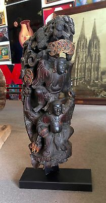 Antique Chinese Carved Wood Sculpture Guardian Architecture