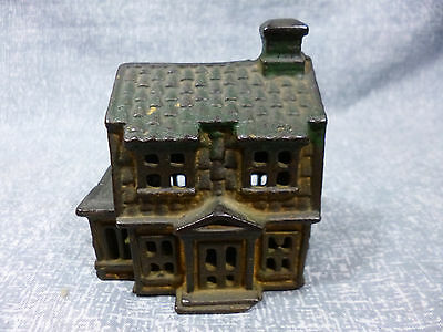 Antique A.C. Williams Cast Iron Colonial House with Porch Still Bank - Small