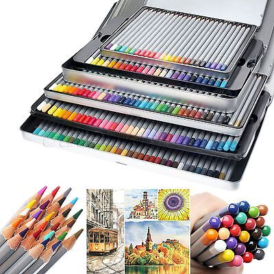 Pro Art Supplies 24/36/48/72 Colors Drawing Sketch Pencils Tin Box Set Non-toxic