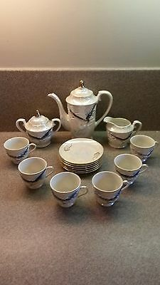 Vintage Japanese Tea Set Hand Decorated Dragonware Iridescent Japan