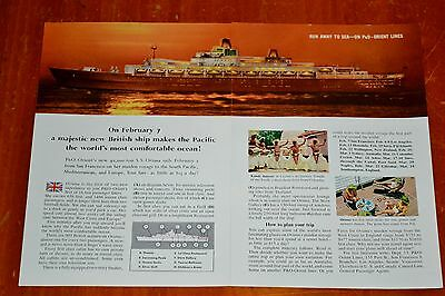 1960 P & O Oriana Cruise Ship Ocean Liner Ad - San Francisco To Europe