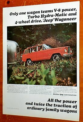 1965 Jeep Wagoneer 4X4 Ad Pulling Airstream Trailer / American 60S Vintage