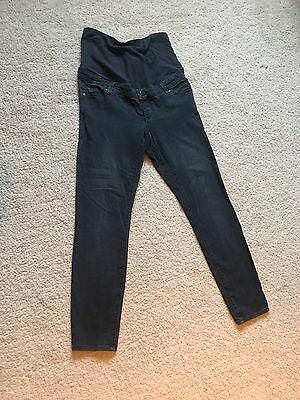 Topshop Leigh Charcoal Maternity Over The Bump Jeans 8 L30