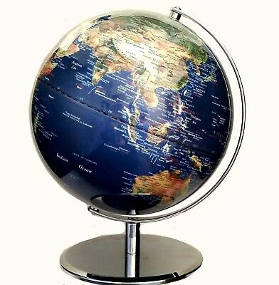STUNNING Clear Blue Satelite View Educational World Globe 42cm x 30cm