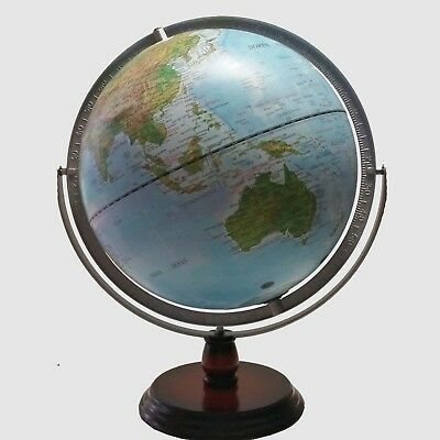STYLISH HIGH QUALITY Embossed Raised Relief Gimbal World Globe Home Decor 30cm
