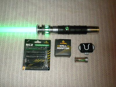 Green Ultrasabers Manticore Lightsaber Leather Sound FX Crystal, Flash +MORE