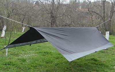 Black 3.6m x 1.8m Tarpaulin for Hammock or Camping by TW Hammocks