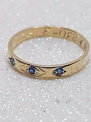 100% Genuine 9Ct Y/ Gold Vintage Friendship Ring With 3 Blue Stones Size K .5