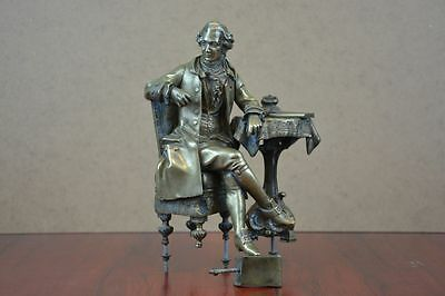 Old Antique Figurine For French Mantel Clock Made Of Bronze