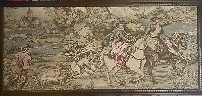 """Gorgeous Romantic French Tapestry Gobelin Fabric Framed Wall Hanging 64.5"""" X 30"""""""