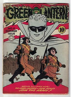 DC Comics GREEN LANTERN Golden age #4 1942 WWII story VG 4.0 War german cover