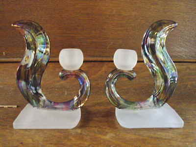 Vintage Art Nouveau Irridescent Glass Candle Holders book ends