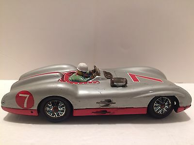 VINTAGE TIN MARUSAN TOYS 3355 GO STOP MERCEDES BENZ RACER 7 MADE IN JAPAN 50's