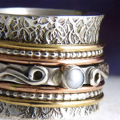 Chunky SPINNER Size 10.75 SILVERSARI 3-Spin Fidget Ring Solid 925 Silver/Pearl