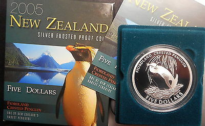 New Zealand 2005 Fiordland Penguin  Silver Proof $5 coin Nice
