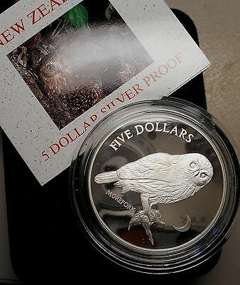 New Zealand 1999 Morepork  Bird Silver Proof $5 coin Nice