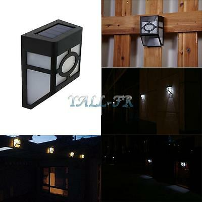 Outdoor Solar Powered Wall Mount LED Light Fence Path Landscape Garden Yard Lamp