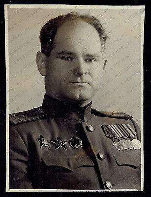 Photo Russian USSR Army Colonel w/ Order of the Partisan Star. Yugoslavia (2178)