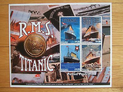 MADAGASCAR 1998 TITANIC PERIOD POSTCARDS 4v M/S MINT MNH