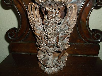 Rare Antique Indian Wooden Intricatly Carved Hindu Deity Vishnu Riding Garuda