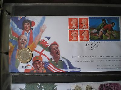 GB 1999 Rugby World Cup £2 coin cover - Cardiff pictorial cancel