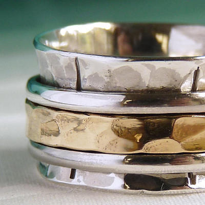 US 11 1/2 Classic MEDITATION Spinner 3-SPIN Spinning Ring Solid Sterling Silver