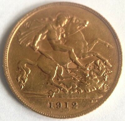 1912 22ct George V Solid Gold Half Sovereign Coin - London Mint