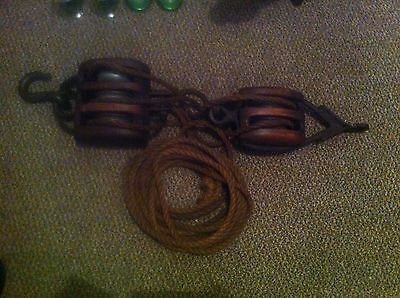 Old Vintage Retro Industrial Shipping? Timber Pulley System Orig Ropes