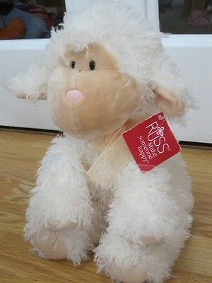 "Russ Berrie Lili The Lamb Large 12"" Shaggy Plush Super Soft Toy Beanie With Tag"