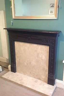 Coalbrookdale cast iron surround and marble hearth fireplace