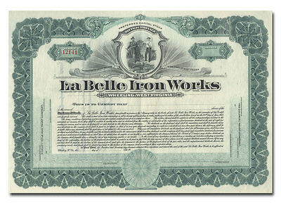 La Belle Iron Works Stock Certificate (Wheeling, West Virginia)
