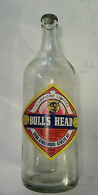 """Rare Canadian (Sherbrooke, Que) """"bull's Head Ginger Ale"""" 30 Oz W/paper Label+Cap"""