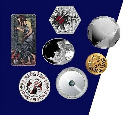 Latvia FULL SET 7 coins 5 Euro 2016 Lettland Letonia Lettonie silver, gold PROOF