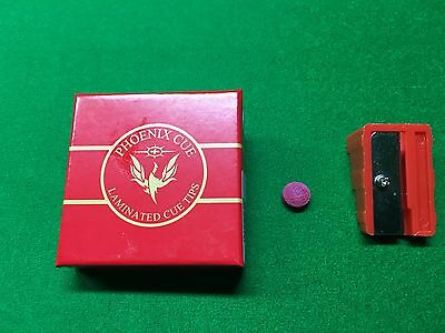 Phoenix Red Laminated Snooker / Pool Cue Tips With Free Tip Trimmer