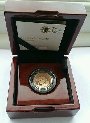 2017 Full Sovereign Proof Coin in 22 Carat Gold Boxed + Coa -  ROYAL MINT