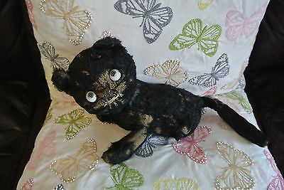 Rare Antique Einco Googly Eyed Lucky Black Cat, Straw Filled  app 9 inch