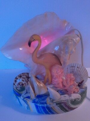 Vintage Mid-Century Floridian Conch Sea Shell Flamingo Tv Lamp, Night Light