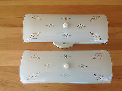 Pair of Bathroom Vanity Wall Lights Sconces Frosted Glass