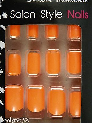 instant manicure salon style solid bright color glue on artificial nails Orange