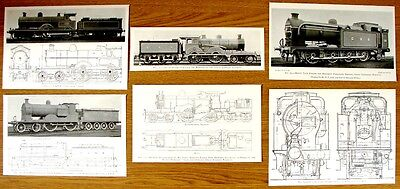 *4 Colectable Antique Pictures Of Old Locomotives & Plans Removed From 1905 Book