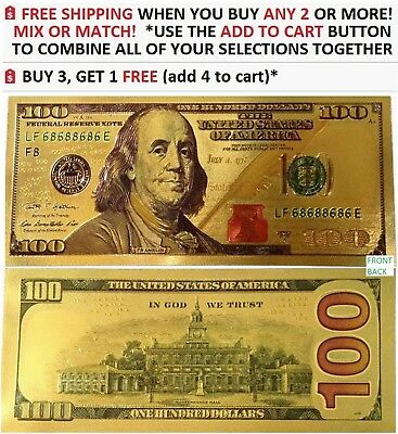 LOT OF 100: 24K Gold Fake $100 Dollar Bill Color Enhanced New Style Novelty  Note