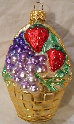 Patricia Breen Christmas Ornament 9544 Large Fruit Basket Strawberries 4.5""