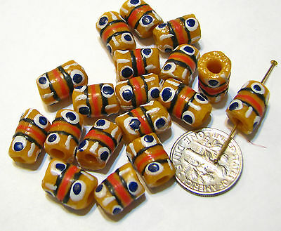 Handmade African Glass Tube Trade Beads  YELLOW MULTI  Lot of 10  T22