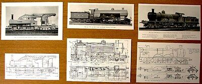 *3 Colectable Antique Pictures Of Old Locomotives & Plans Removed From 1905 Book