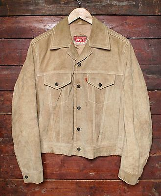 VTG 70s LEVI'S ORANGE TAB COWHIDE SUEDE LEATHER WESTERN TRUCKER JACKET MEXICO M